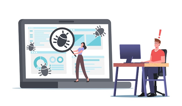Programmer characters catch bugs, debugging process, programming, coding, create app. application development and testing. antivirus software and websites building. cartoon people vector illustration