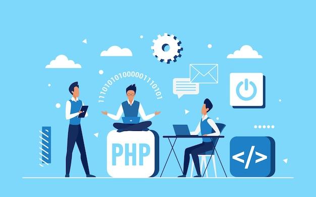 프로그래머 코더 직원 팀이 애플리케이션 개발 작업