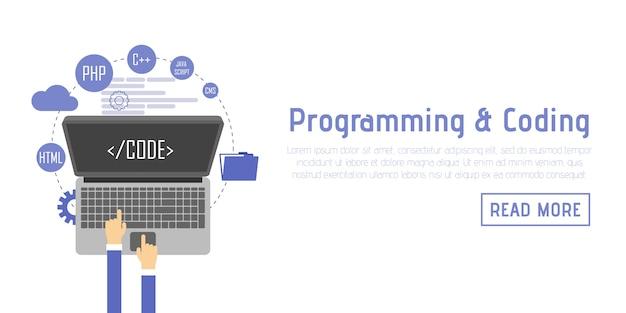 Programmer at computer desk working on program. software concept. vector illustration flat design. man working at desktop comput