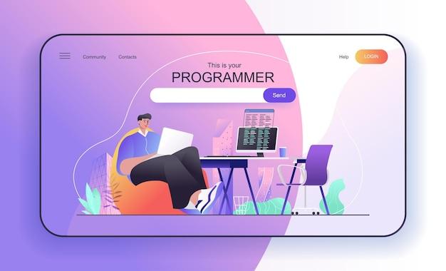 Programmer concept for landing page developer works at laptop writes code on computer