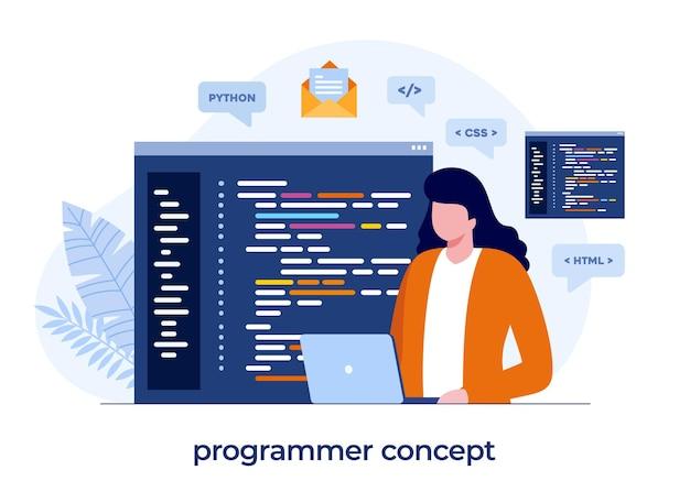 プログラマーの概念、web開発。プログラミング言語。 css、html、it、ui。ウェブサイトの開発、コーディング。フラットイラストバナー