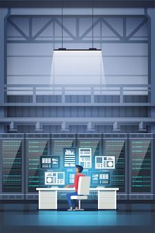 Programmer in data center