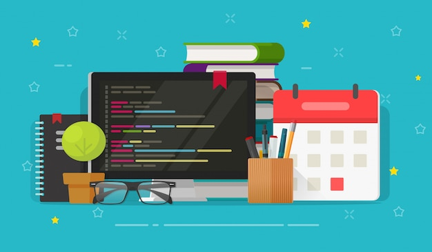 Programmer desktop and computer screen with php or html script coding  illustration flat cartoon