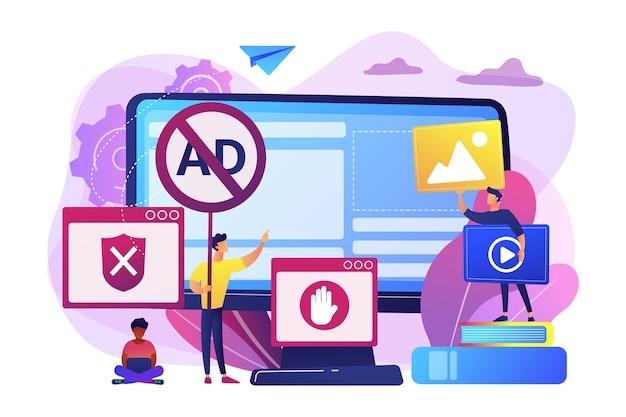 アンチウイルスプログラムを開発しているプログラマー。禁止されたインターネットコンテンツ。広告ブロックソフトウェア、オンライン広告の削除、広告フィルタリングツールの概念。