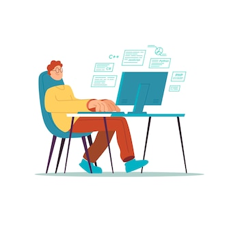 The programmer is sitting at the computer
