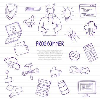 プログラマーの仕事または仕事の職業落書きは、紙の本の線のベクトル図にアウトラインスタイルで手描き