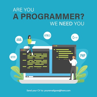 Programmer job vacancy template with people and laptop illustration