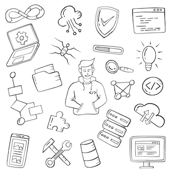 プログラマーの仕事や職業は、アウトラインの黒と白のスタイルで手描きのセットコレクションを落書き