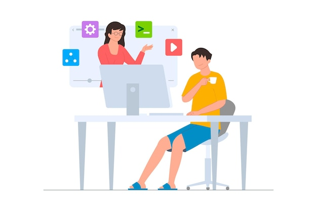 A programmer joins an online course on the website flat illustration