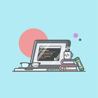 コーヒー、本、メガネのイラストがプログラマのラップトップ。開発者とプログラミングアイコン