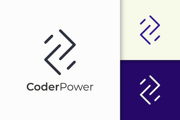 技術会社のためのシンプルでモダンなプログラマーまたは開発者のロゴ
