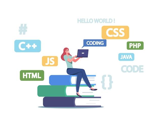 プログラマーの小さな女性キャラクターが巨大な教科書に座ってラップトップで作業し、プログラミング言語、ウェブサイト、またはソフトウェアを開発しています。コーディングとコンピューティングの職業。漫画の人々のベクトル図