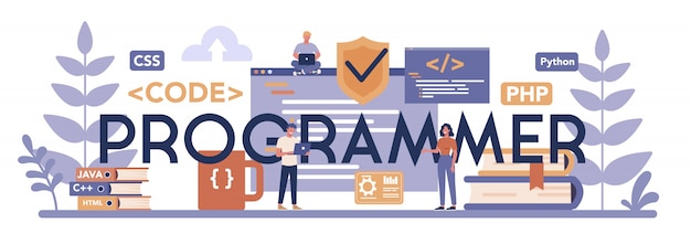 Programmer typographic header concept. idea of working on