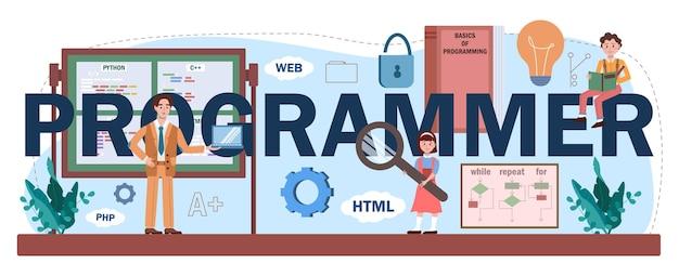 プログラマーの活版印刷ヘッダー。学生はコンピュータサイエンスを学び、ソフトウェアを書き、コンピュータ用のスクリプトをエンコードします。 it教育とテクノロジー。フラットベクトルイラスト。