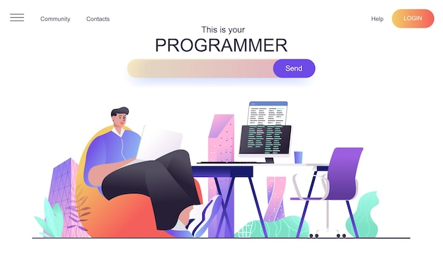 Programmer web concept for landing page