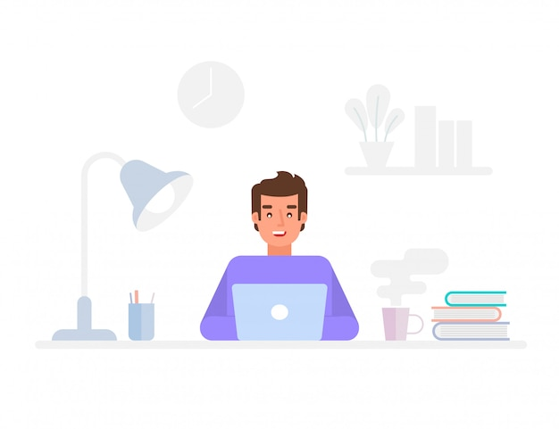 Programmer or web engineer at work. programmer programming web site landing page template.