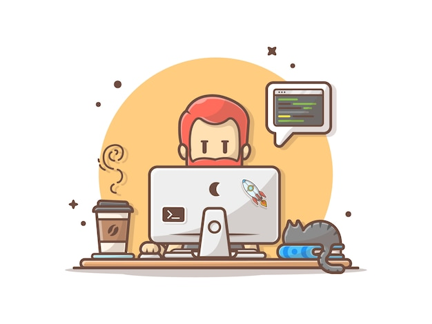 Программист с кодом, кошка на книге и кофе векторные картинки
