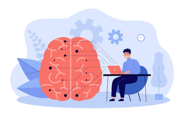 Programmer with computer learning ai flat illustration