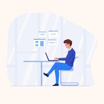 Программист работает на ноутбуке в плоском стиле.