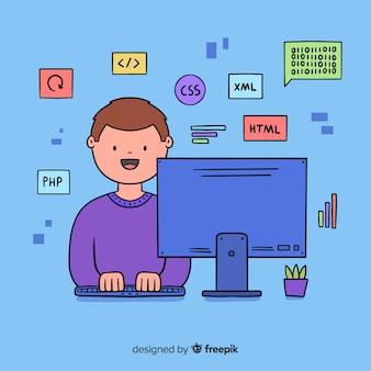컴퓨터에서 작업하는 프로그래머
