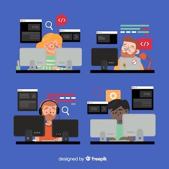 책상에서 일하는 프로그래머