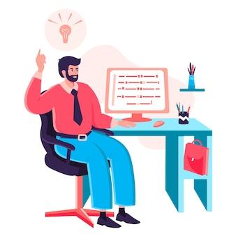 사무실 개념에서 일하는 프로그래머. 개발자는 책상에 앉아 있는 컴퓨터에 코드를 씁니다. 소프트웨어 및 프로그램 개발 캐릭터 장면. 사람들이 활동과 평면 디자인의 벡터 일러스트 레이 션