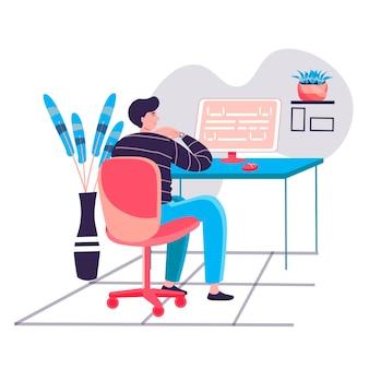 Программист, работающий в офисе концепции. человек кодирует код, создает и тестирует скрипты. разработка программного обеспечения и программ персонажей. векторная иллюстрация в плоском дизайне с деятельностью людей