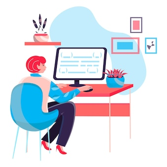 사무실 개념에서 일하는 프로그래머. 여성은 코드를 작성하고 앱을 만들고 테스트합니다. 소프트웨어 및 프로그램 개발, 캐릭터 장면. 사람들이 활동과 평면 디자인의 벡터 일러스트 레이 션