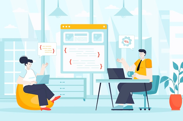Programmer working concept in flat design illustration of people characters for landing page