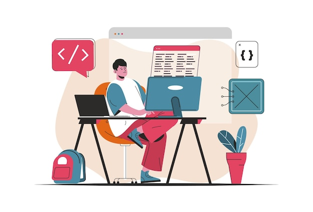 Programmer working concept isolated. creation and development of software, programs. people scene in flat cartoon design. vector illustration for blogging, website, mobile app, promotional materials.