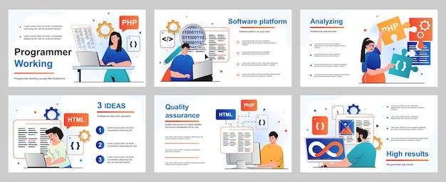 Programmer working concept for presentation slide template developers program