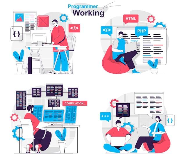 Programmer working concept set developer creates software and tests programs