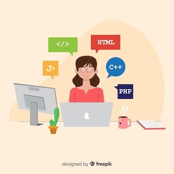 Programmer working at desk