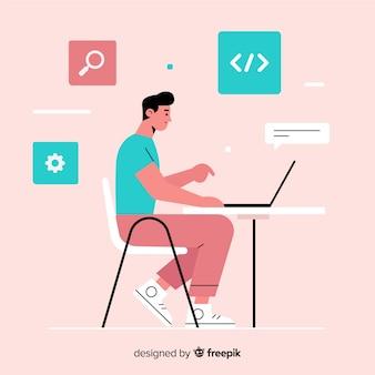 Программист работает в плоском стиле
