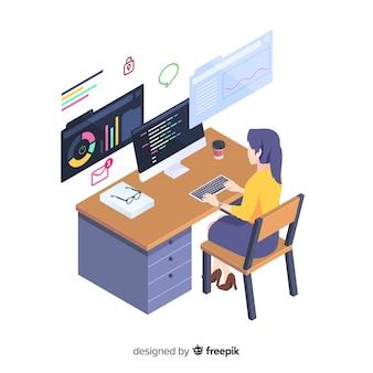 아이소 메트릭 스타일로 작업하는 프로그래머