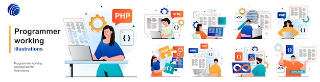 Programmer working isolated set devops coding programming software testing of scenes in flat