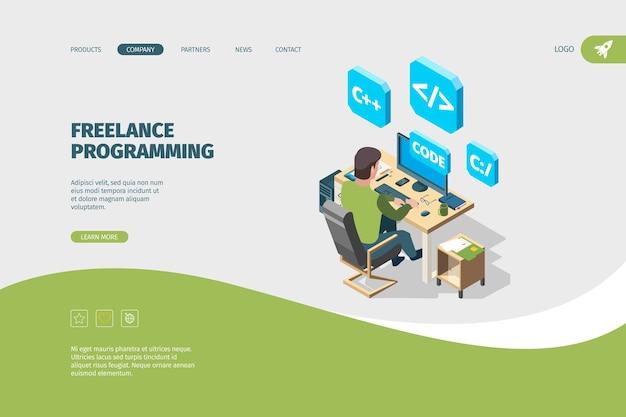프로그래머 작업 착륙. 컴퓨터 프리랜서 프로그래밍 가능성 벡터 아이소메트릭 개념에 앉아 있는 디자이너 또는 예술가. 개발자 프로그래밍, 개발 디자이너 일러스트레이션