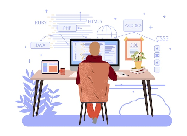 コンピューターエンジニアリングまたはコーディングのウェブサイトに取り組んでいるプログラマーphppythonjavascriptベクトルの概念