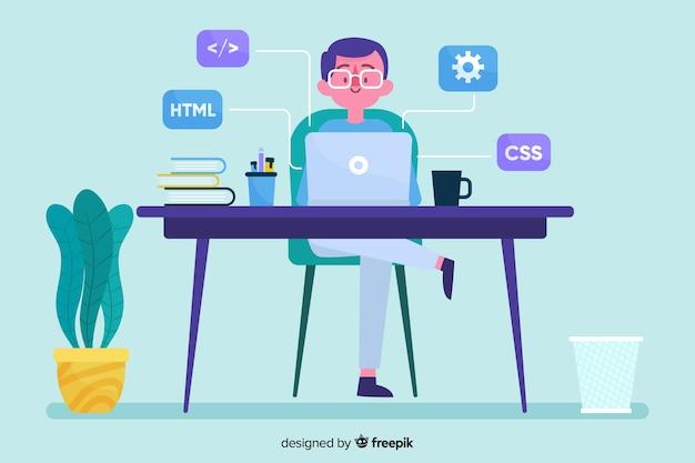 デスクオフィスで男と働くプログラマー