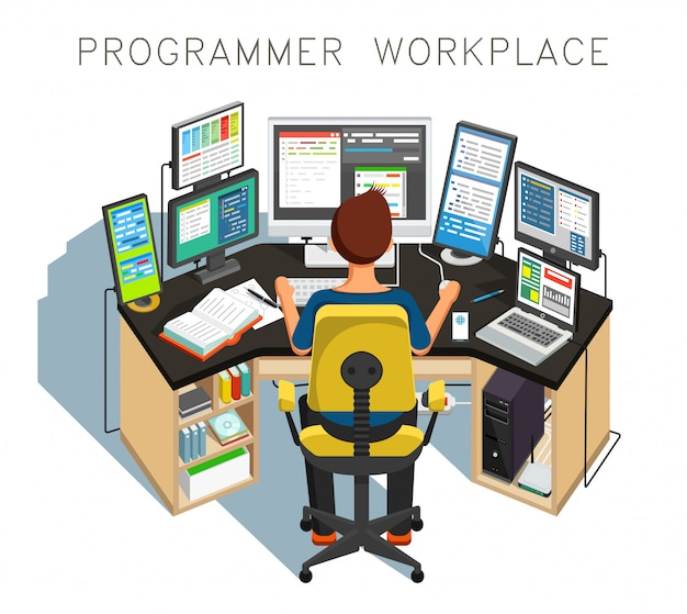 The programmer writes code. illustration