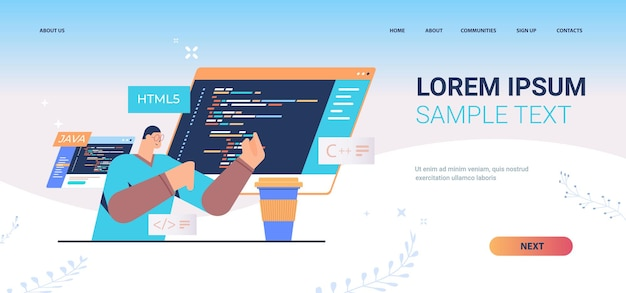Programmer writing code for computer app engineering landing page