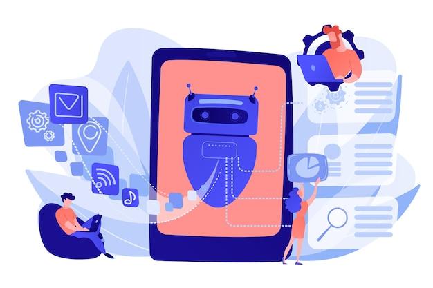 自然言語を処理するプログラマーとチャットボット。自然言語処理、チャットボット自然言語、自然言語シンセコンセプト