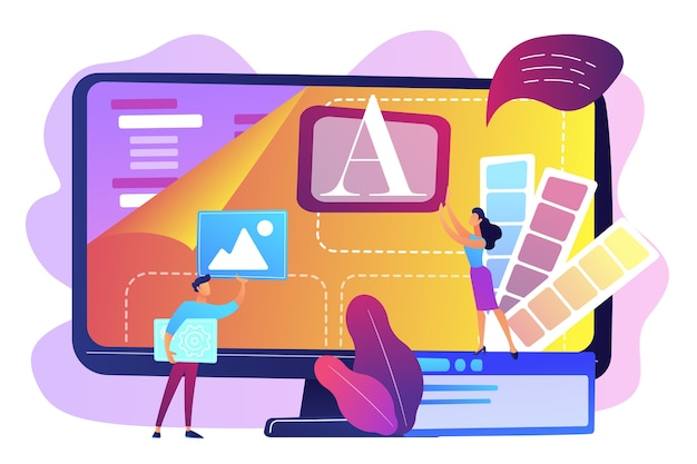 コンピューターでローコードプラットフォームを使用しているコンピューターのプログラマー、小さな人々。ローコード開発、ローコードプラットフォーム、lcdpの簡単なコーディングコンセプト。明るく鮮やかな紫の孤立したイラスト