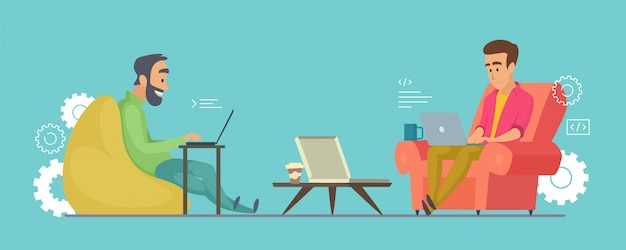 Programmers characters. software developers working on laptops in coworking illustration