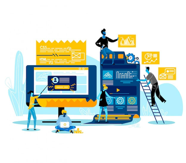 Programmers characters working together coding, creating new website, software or application for mobile, creative team, teamworking web development business concept