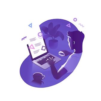 프로그래머 컨셉 일러스트, 웹 개발자 캐릭터