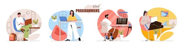 Набор концептуальных сцен для программистов разработчики кодирования создают программное обеспечение или приложения, тестируют продукты, работают над проектом.