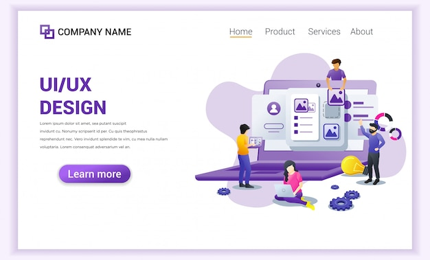 Programmers concept ui ux landing page.