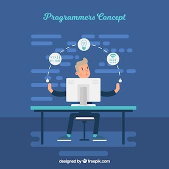 Concetto di programmatori con design piatto
