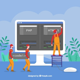 Programmers concept with flat design